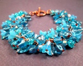 Flower Charm Bracelet, Aqua Blue Bouquet, Rose Gold Tone, Copper Beaded Bracelet, FREE Shipping U.S.