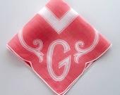 Vintage Monogram G Handkerchief - Coral and White Print