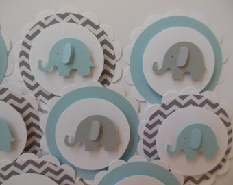 Elephant Cupcake Toppers - Blue, Gray and White - Gray Chevron - Boy Baby Showers - Boy Birthday Party - Set of 12
