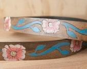 Leather Belt - Womens Belt - Handmade Belt - Belt -Skinny Belt - Aurora Belt with Flowers in pink, turquoise, white and antique black