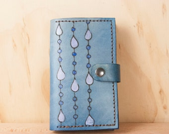 iPhone Case for 5 5c 6 6+ - Leather iPhone Case - Handmade iPhone Case with Rain pattern in blue - iPhone Wallet