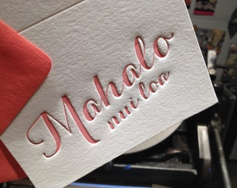 Note Cards - LETTERPRESS - Mahalo Nui Loa 4bar Thank You - Set of 24 by Invited Ink