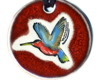 Hummingbird Ceramic Necklace in Red