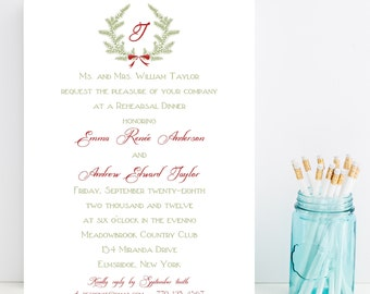 10 Christmas Rehearsal Dinner Invitations - Christmas Rehersal Invitation
