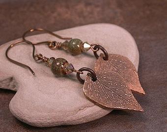 Handmade Bronze Clay Leaf Charm Dangle Earrings Divine Spark Designs SRA