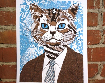 Business Cat - Handprinted Art Print 11x14