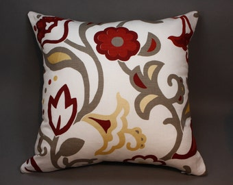"""Off White Cotton Decorative Pillow Cover with floral design, 18"""""""