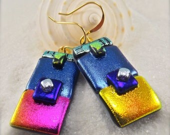 Womens handmade jewelry,statement earrings,dangle & drop earrings,gold plated earrings,made in the USA, dichroic glass earrings, mod and hip