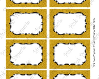 Printable Gold Glitter Wedding Food Labels - Instant Download