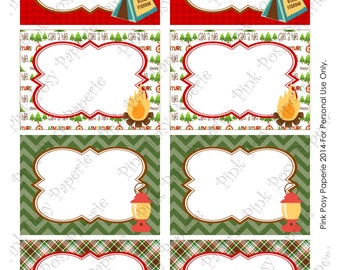 Printable Camping Birthday Party Food Labels - Instant Download