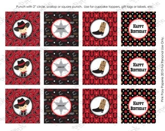 Printable Cowboy Birthday Cupcake Toppers - Instant Download