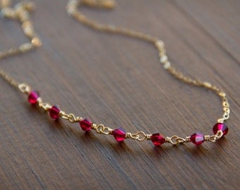 Ruby Red Swarovski Beads Wire Wrapped Individually on a 14k Gold Fill Chain
