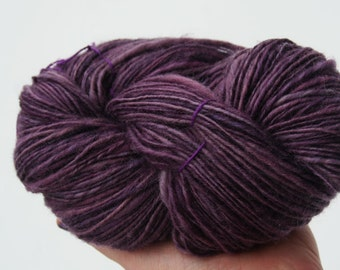 hand spun hand dyed yarn - purple -  wool