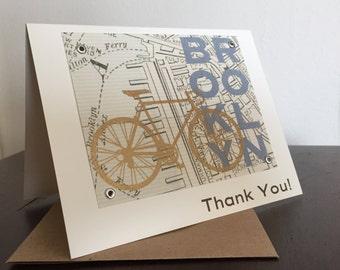 Brooklyn Map and Bike - Screen-Printed Thank You Card