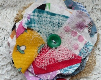 Upcycled fabric flower embellishment, scrapbooking flower, gift topper, flower applique, recycled quilt top, flower supplies