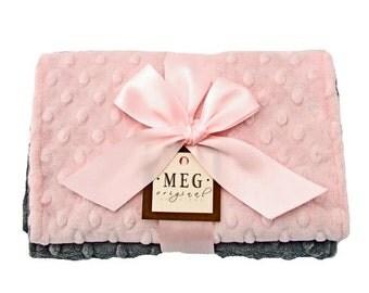 On Sale Pink and Charcoal Gray Minky Dot Baby Girl Burp Cloth Set