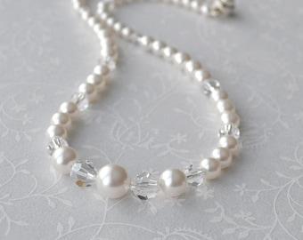 Pearl and Crystal Bridal Necklace, Long Pearl Strand Necklace, Wedding Jewelry, OOAK Bridal Necklace, Handmade Bridal Jewerly Buffalo NY