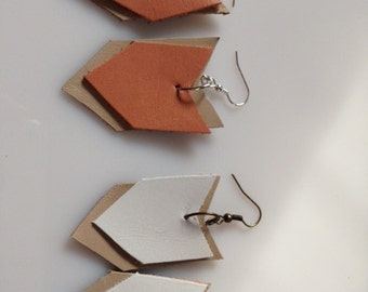 Leather Coral or White and Taupe Chevron Earrings Your choice