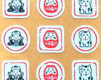 Japanese Chiyogami Stickers - Lucky Cat Stickers - Dharma Doll Stickers - Traditional Japanese S83