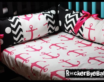 Pink navy gray chevron anchor crib bedding fabric skull and crossbones