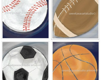Sports Decor, Art Prints, Basketball Art, Football, Soccer, Baseball, Sports Wall Art for Sports bedding decor