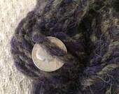 Little Bitty Pretty One handspun two ply ragg yarn purple and grey small skein 24 yards minskein trim felting weaving crafting mixed media