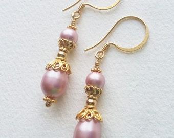 YOU COMPLETE ME - Swarovski Pearl & Vermeil Earrings