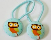 Ponytail holders - Little Owl on Aqua - fabric covered button hair ties