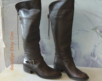 Vintage Laced Back Riding Boots Leather size 6 Eur 36 Uk 3.5  TALL Knee Hi Flat Walnut Brown Ladies BCBG