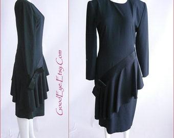 Fab 80s ASYMMETRICAL Peplum Dress / size small range 4 6 8   / NEIMAN MARCUS Long Sleeve Black Crepe Satin Bow Tie / Hong Kong 1980s