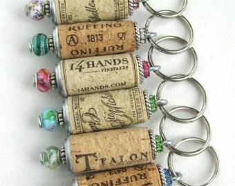 Wine cork keychains (Set of 10), beaded cork keychains, cork keyring, bridesmaids gift, wedding favors