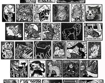 Cats A-Z Entire Series (30 black and white woodcuts)