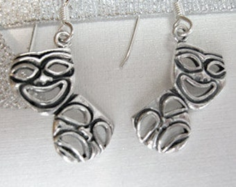 Funky Theater Drama Masks Sterling Silver earrings comedy tragedy