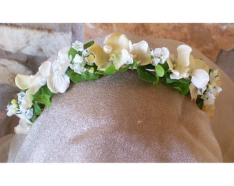 floral headband hair flowers flower head wreath bridal crown renaissance costume faerie flowers women's boho wedding prom accessory