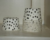 Black Nut Cup, set of 12, Dessert Cups, Ice cream cups, polka dots, black white, paper cups