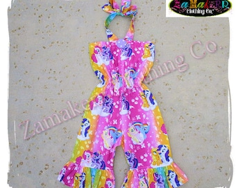 Custom Boutique Clothing Girl My Little Pony Romper Set Birthday Outfit Jumper Summer Halter Size 6 9 12 18 24 month size 2t 3t 4t 5t 6 7 8