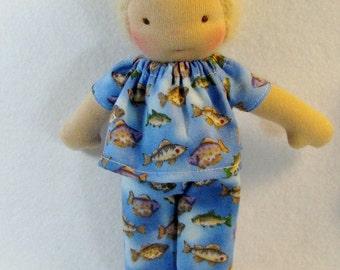 Doll sleepwear, fish print pajamas for thin 8 inch waldorf doll, waldorf pajamas