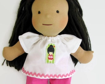 14, 15, 16 inch Waldorf doll clothes, pink doll Outfit, Cherry Blossom Girl Patch Top and Rick Rack Pink Pants