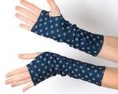 Blue arm warmers, Floral armwarmers, Blue fingerless gloves, Floral fingerless gloves, Long floral gloves, Vintage floral wrist warmers