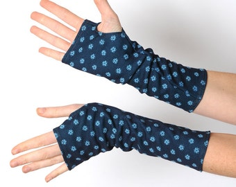 Blue arm warmers, Floral armwarmers, Blue fingerless gloves, Floral fingerless gloves, Long floral gloves, Vintage floral wrist warmers