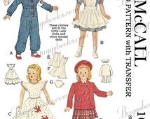 1940's Vintage 18 inch doll clothes sewing pattern - Little Lady dolls, etc