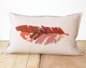 "Fine Feather Decorative Art Pillow - Pink Patchwork Fiber Art Feather Pillow Case 14""X24"""
