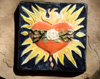 Ceramic Clay Pottery Rustic Sacred Flame Heart Focal Art Tile 6 x 6