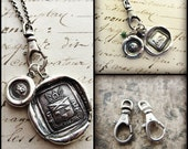 Swivel Fob Charm Holder - Charm Holder for Wax Seal Jewelry - Sterling Silver - Vintage Style Charm Holder