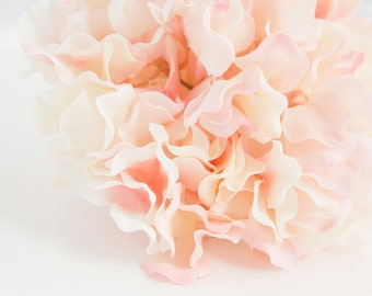 60 Large Hydrangea PETALS in Light Pink and Cream - Artificial Flower PETALS - One Hydrangea Head - ITEM 01018