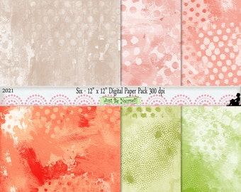 12 x 12 inch Abstract Green Orange Background Papers Instant Download Set of 6 Digital Mixed Media Scrapbook Papers JPEG Commercial Use 2021