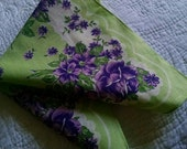 Vintage Handkerchief Mint Green with Purple Roses 1950's