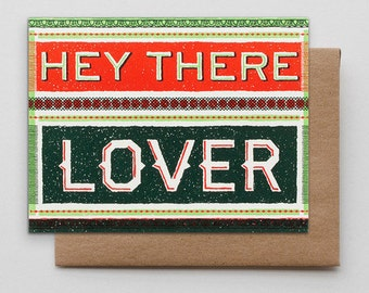 Letterpress / Hey There Lover / Valentine's Day Card