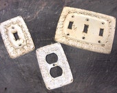 Free Shipping switch plate Lot of  3 metal electric and s cottage design white with patina Restoration Hardware