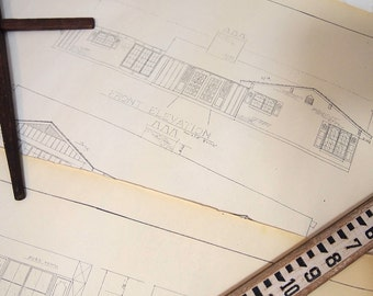 Free shipping Blueprints Set of 4 pages of old home house plans  Architectural Drawings Mid Century cream black